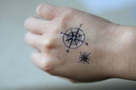 La Collection Spirit Ink Temporary Tattoo Compass Tattoo Hand