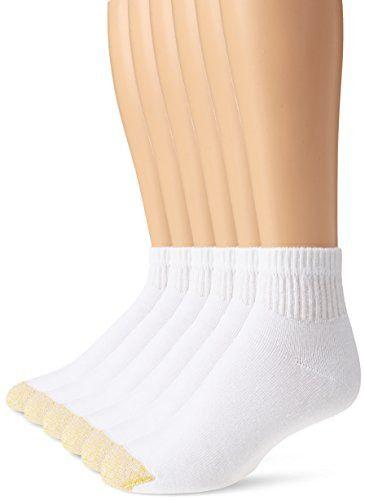 6 Pack Gold Toe Men/'s 656P Cotton Quarter Athletic Socks Black Shoe Size