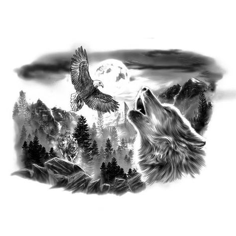 b78116dcb Wolf and Eagle Tattoo Designs