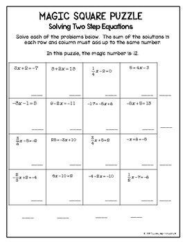 Algebra Magic Square Puzzles Order Of Operations Solving Equations And More Order Of Operations Algebra High School Math Teacher