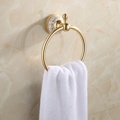 Bathroom Space Aluminum Golden Champagne Towel Ring Towel Rack Holder Gold Europe Style Bathroom Hardware Accessories Bathroom Accessories Towel Rings Towel Shelf