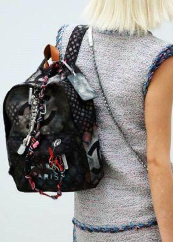 Chanel Graffiti Backpack Dark Grey  5c51138309fbf