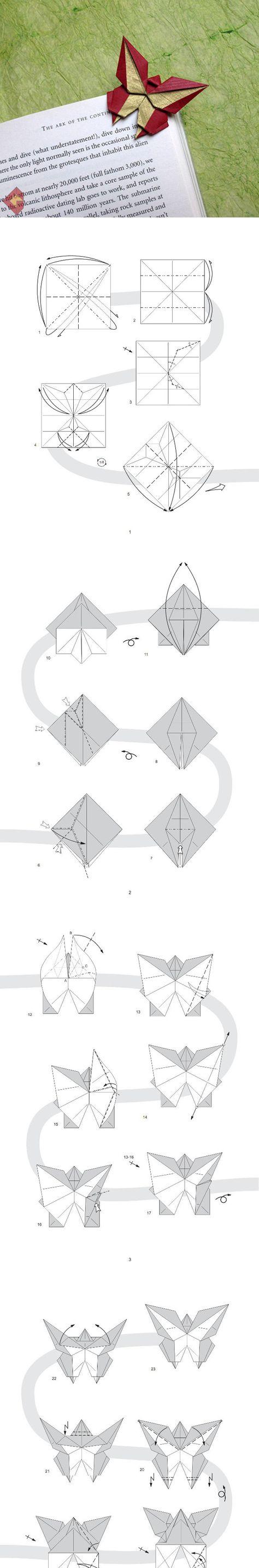 oragami book mark 折纸蝴蝶书签