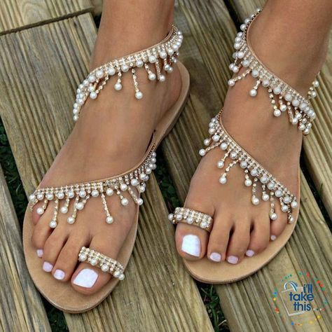 Bohemian Beach Sandals, a majestic array of pearls and spark Handmade Chic Sandals Flip-flop