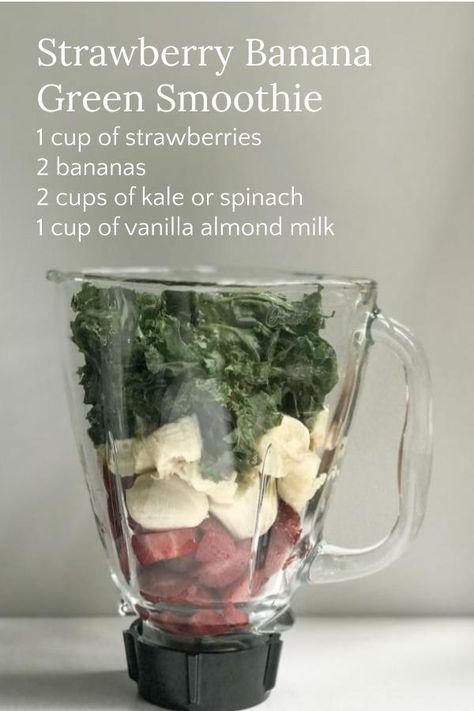 Vegan or vegetarian summer smoothie strawberry banana green smoothie recipe healthy recipe Smoothie Legume, Fruit Smoothie Recipes, Easy Smoothies, Smoothie Drinks, Smoothie Diet, Diet Drinks, Smoothies With Spinach, Juice Recipes, Vegetarian Smoothies