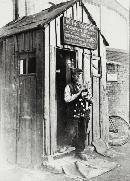 """Caption: """"Lock-keeper and his hut at St Pancras Lock on the Regent's Canal"""""""
