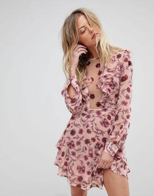 For Love And Lemons Floral Plunge Mini Dress Plunge Mini Dress Maxi Dress Prom Blush Floral Dress