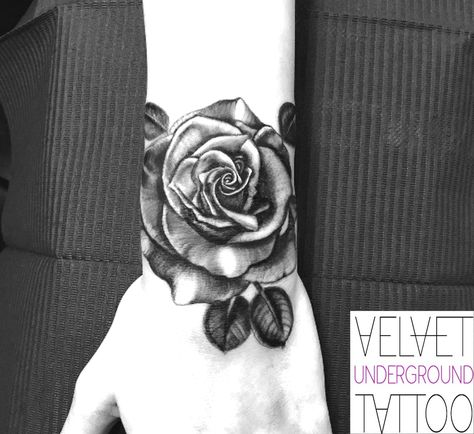 3f5e18a4c45fc Black and Grey Realistic Rose Wrist Cuff Tattoo by Emily Brown at Velvet Underground  Tattoo