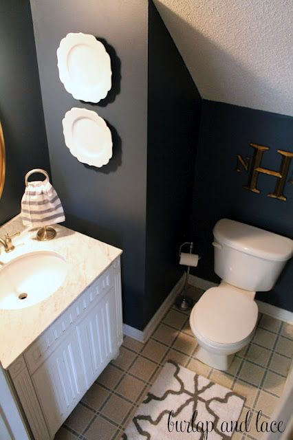 Navy Blue Cream White And Gold Bathroom Scottish Loch Color Place Might Look Good In Mine Or Travis