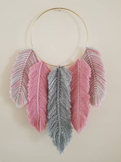 Macrame Feathers Dreamcatcher Grey glitter and Rose Pink | Etsy