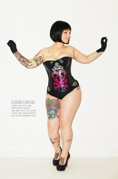 Veronica Virgo #tattoos #black-leather-bustier #corset #gloves #sexy #plus-size #fatshion #big happy-fat-girls #chubby #curvy #thick #women #fashion #style #body-positive-love