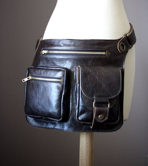 b28ec5aa6 Four pocket Leather Fanny pack convertible into Crossbody Bag