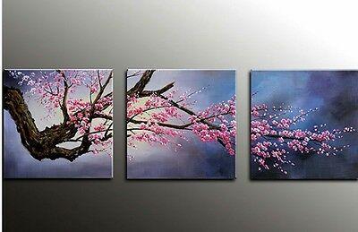 3 Panels Plum Tree Blossom Flower Modern Giclee Canvas Prints 16 X16 New Multi Canvas Painting Modern Canvas Art Flower Canvas