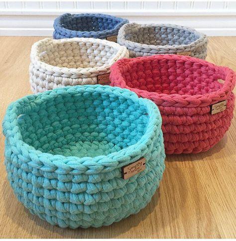 Crochet Basket Crochet Bowl Storage Basket by SimplyMadeByErin