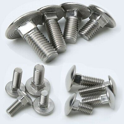 Details About Stainless Steel Screws Carriage Bolt Coach M6 M8 M10 M12 Square 12 100mm Carriage Bolt Stainless Steel Screws Bolt