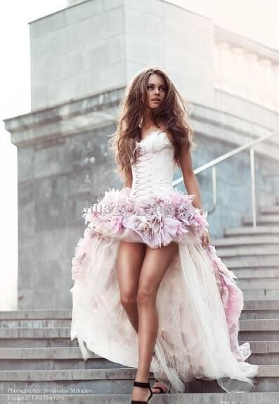 Beach Wedding Dresses Short Front And Long Back A Line With 3d