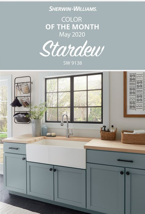 Make a clean start with laundry room walls painted in the Sherwin-Williams May Color of the Month, Stardew SW Fresh and fabulous, this hue will wash your color selection worries away. Tap this pin to find inspiration for your next DIY painting project. Kitchen Cabinet Colors, Kitchen Redo, Kitchen Colors, New Kitchen, Kitchen Remodel, Paint Colors Kitchen Walls, Dinning Room Paint Colors, Kitchen Color Schemes, Country Kitchen Cabinets