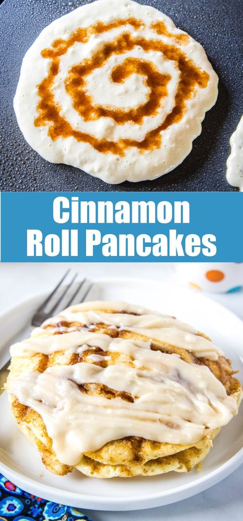 Cinnamon Roll Pancakes - Thick and fluffy pancakes with a swirl of brown sugar and cinnamon and topped with a cream cheese glaze! The ultimate weekend breakfast.