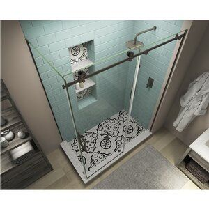 Coraline Xl 44 W X 80 H Single Sliding Frameless Shower Door In 2020 Frameless Shower Doors Glass Shower Doors Frameless Shower Doors