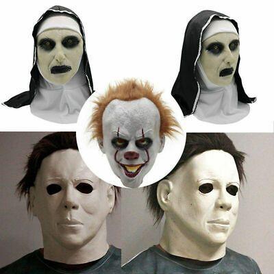 Michael Myers MaskS//CARY NUN MASK// IT Clown// Latex Full Head Halloween Deluxe