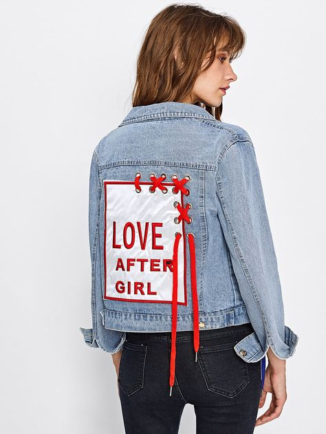 Shein Embroidered Patch Back Grommet Lace Up Denim Jacket