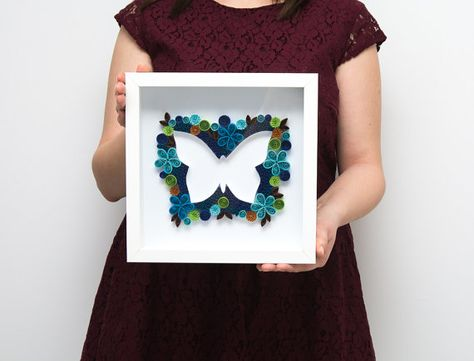 Beautiful Framed Quilled Wall Art Paper Butterfly Quilling Elegant Unique Modern Home Decor Office Decoration Nursery Decor Etsy by PaperParadisePL