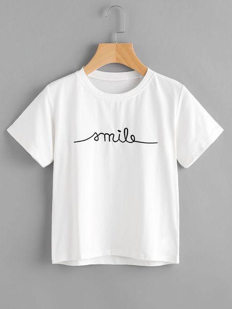 zapatos para correr venta outlet precio moderado Letter Embroidered Tee | Atuendo | Ropa, Ropa tumblr y Camisetas