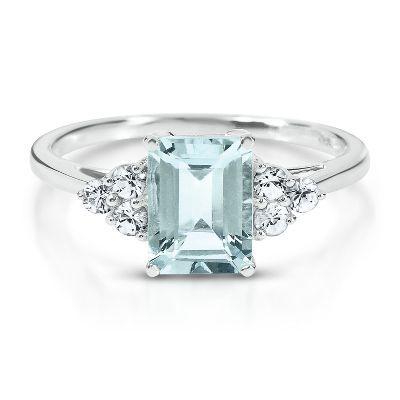 Octagonal Cut Aquamarine Ring available at #HelzbergDiamonds-
