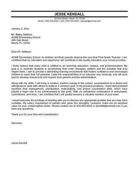 Cover Letter Primary School Teacher Elementary