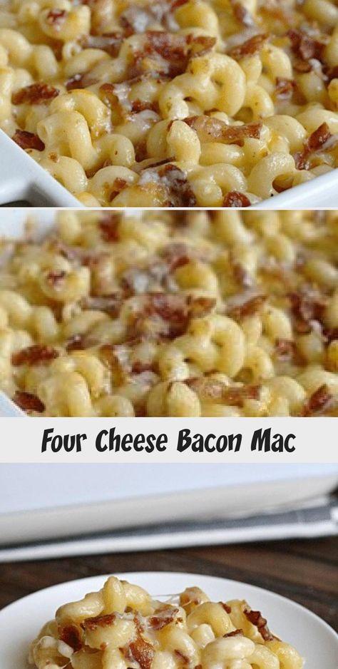 Four Cheese Bacon Mac- once you try this easy recipe you will never use a box again! #Summerrecipe #Shrimprecipe #Healthyrecipe #Paleorecipe #Crockpotrecipe