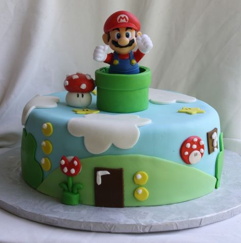 Super Mario Bros. Cake for Noah | http://rosebakes.com/rose-bakes-a-super-mario-bros-cake-for-noah/
