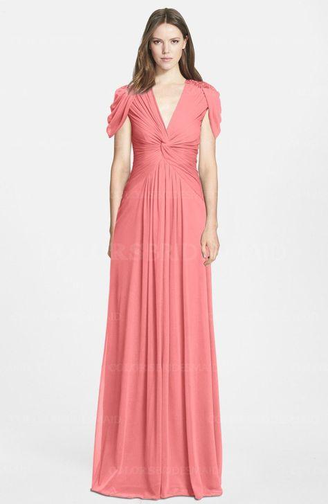 48cd209f979a Coral Elegant A-line V-neck Short Sleeve Zip up Bridesmaid Dresses (Style  D89245)