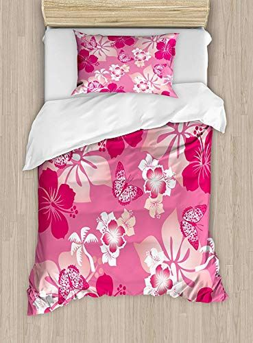 Big Buy Store Luau Duvet Cover Abstract Hibiscus Pattern Dreamlike Fantasy Composition With Butterflies De Butterfly Duvet Cover Bedding Set Duvet Cover Sets