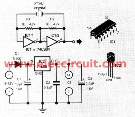 simple crystal oscillator circuit using 74ls04 electronics