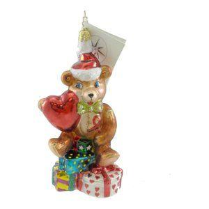 Christopher Radko Heartfelt Joy Glass Ornament Teddy Bear Heart Handcrafted Christmas Ornaments Christopher Radko Glass Ornaments