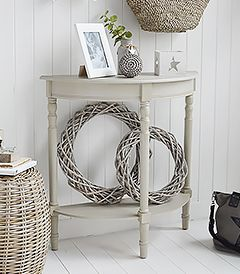 Plymouth Half Moon Grey Console Hallway Table With A Shelf From