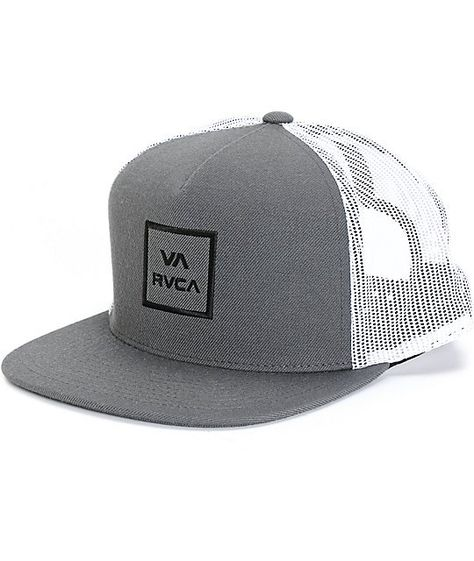 Allow your dome to breath easy in a fresh two tone look with a black RVCA VA  embroidery on the front the charcoal front and a contrasting white mesh  back ... 1576fc7df26