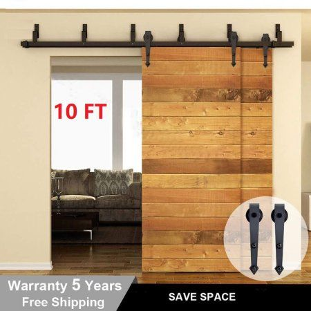 10 Ft Sliding Barn Door Kit Heavy Duty Arrow Shape Double Barn Door Hardware Black Interior Barn Door Hardware Barn Door Hardware Interior Barn Doors