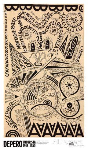 Luna Park,Esplosione Tipografica (Montagne Russe a Coney Island) Posters par Fortunato Depero sur AllPosters.fr