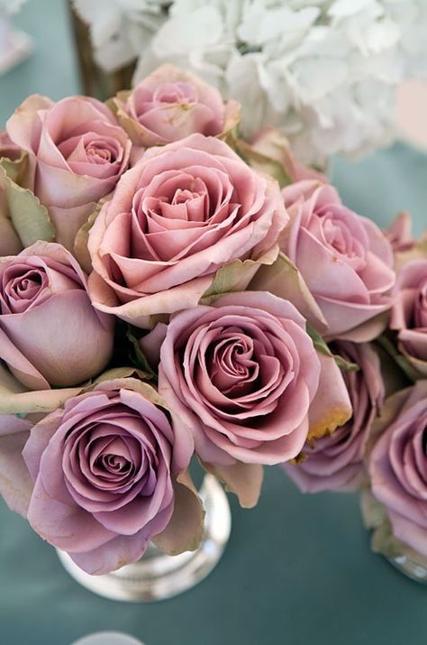 Dusty pink roses are a beautiful contrast to a light  blue tablecloth.