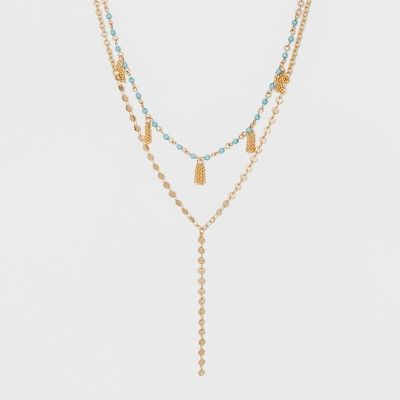 a75ae67a1ea1e SUGARFIX by BaubleBar Mixed Media Layered Y-Chain Necklace ...