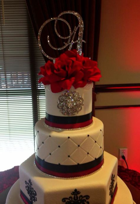 Black, white with red sweet 15 birthday cake
