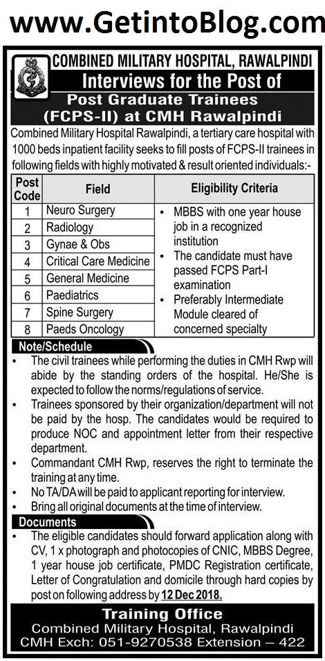 Combined Military Hospital Rawalpindi is looking for