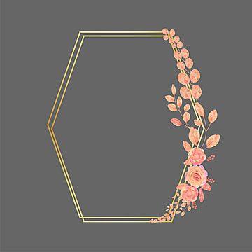 إطارات ذهبية متعددة الأضلاع مع الزهور والأوراق ناقل الصورة نباتي الوردة البرتقالي Png والمتجهات للتحميل مجانا Flower Frame Leaves Vector Vintage Frames