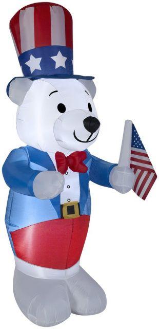 Festive Patriotic Bear Holding American Flag Outdoor Garden Statue