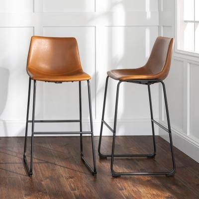 """Walker Edison 30"""" Faux Leather Barstool 2 pack - Whiskey Brown (FPU-31) HDHL30WB - The Home Depot"""