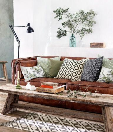 Geometric Pattern Grey Rug With Brown Leather Sofa Green And Grey Living Room Brown Leather Sofa Living Room