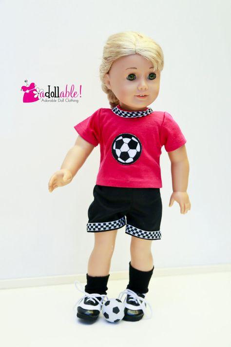 "Black Knit Knee-High Socks fits 18/"" soccer futbo athletic American Girl Dolls"