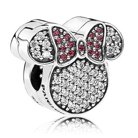 92ae60346 Minnie's sparkling personality is reflected in this iconic charm fashioned  in sterling silver by PANDORA and encrusted with red and clear cubic  zirconia.