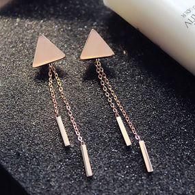 Simple Earrings Asymmetrical Threader Earrings 14k Rose Gold Fill or 925 Sterling Silver Triangle Threader Earrings
